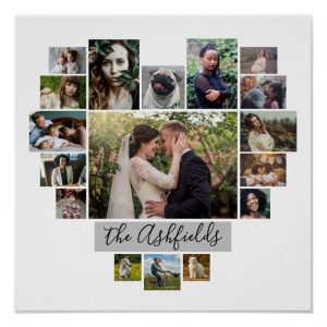 family photo collage heart 17 pictures name white poster r8ec9f964eb06452db1c0c9510db138f7 wvp 8byvr 704