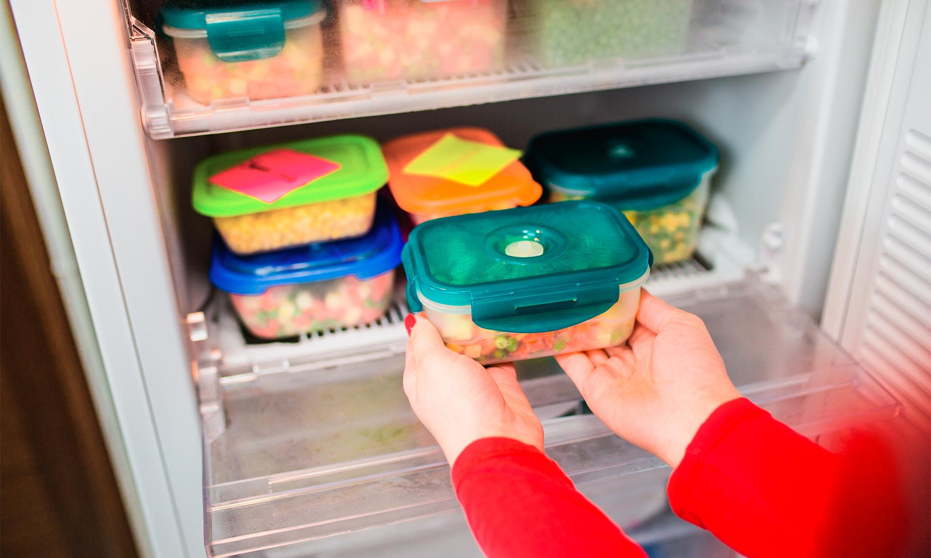 Putting food into freezer