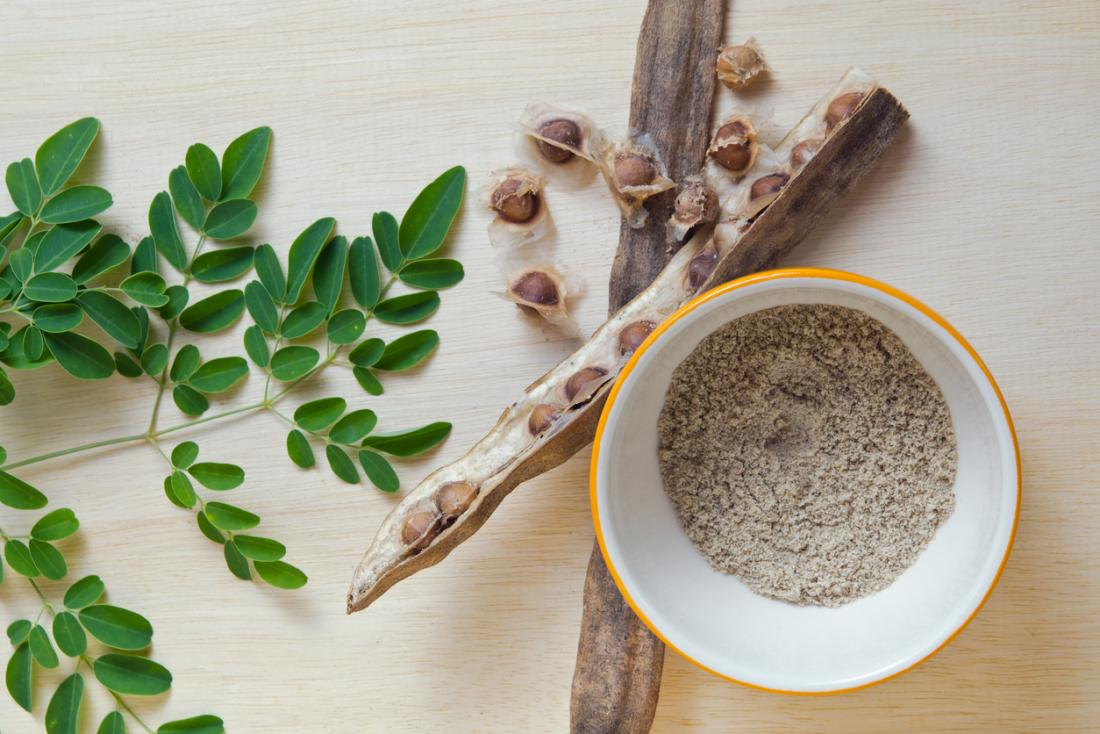 moringa plant dried and powder